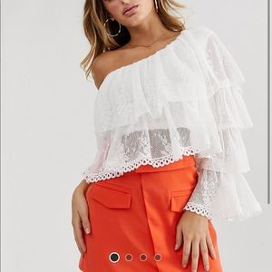 ASOS One Shoulder Tiered Top in pleated lace